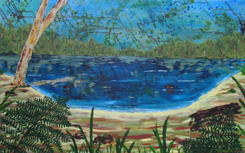 (CreativeWork) Wild (Hidden Lagoon) by Jazmin Wilkins. arcylic-painting. Shop online at Bluethumb.