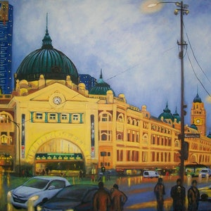 (CreativeWork) Colours of the Night - Flinders Street Station by Brita Lee. arcylic-painting. Shop online at Bluethumb.