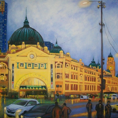 (CreativeWork) Colours of the Night - Flinders Street Station by Brita Lee. Acrylic Paint. Shop online at Bluethumb.