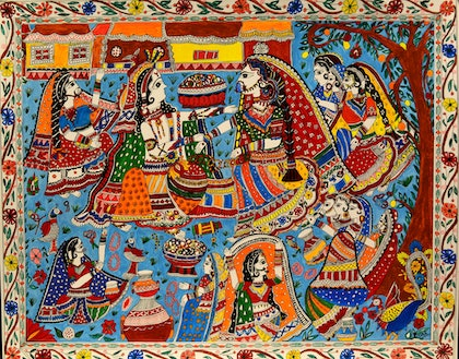 (CreativeWork) Folk Dance by Piyush Garg. arcylic-painting. Shop online at Bluethumb.