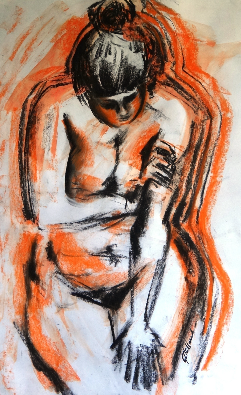 (CreativeWork) Colour me Orange  by Glenise Clelland. Mixed Media. Shop online at Bluethumb.