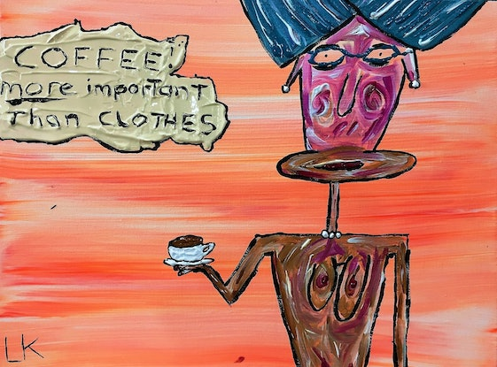 (CreativeWork) Coffee by Leith Kennedy. Acrylic Paint. Shop online at Bluethumb.