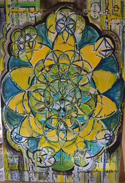 (CreativeWork) Cosmic Sunflower by Jim Martin. arcylic-painting. Shop online at Bluethumb.