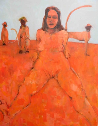 (CreativeWork) Nude with 6 monkeys  by John Graham. Oil Paint. Shop online at Bluethumb.