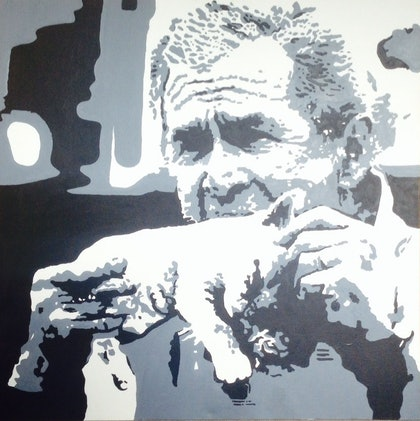 (CreativeWork) Puss n Bush by Kuseah Lawton. arcylic-painting. Shop online at Bluethumb.