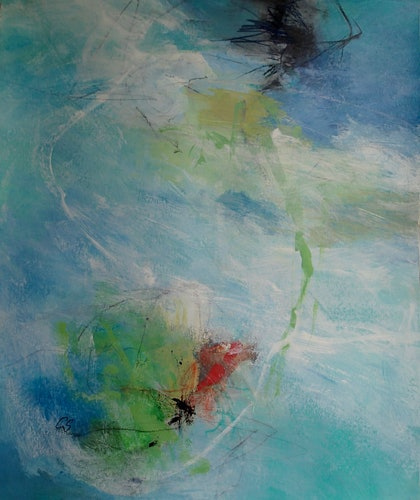 (CreativeWork) Listen to the sea by Christine Scurr. arcylic-painting. Shop online at Bluethumb.