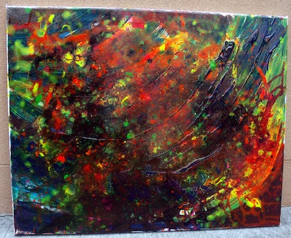 (CreativeWork) Abstract Flower Garden by Nicole whittaker. arcylic-painting. Shop online at Bluethumb.