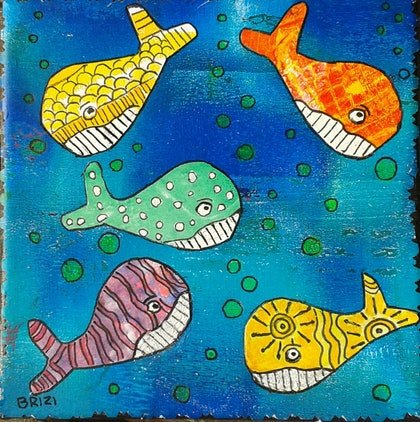 (CreativeWork) Reef fish by Brigitte Zimmermann. mixed-media. Shop online at Bluethumb.