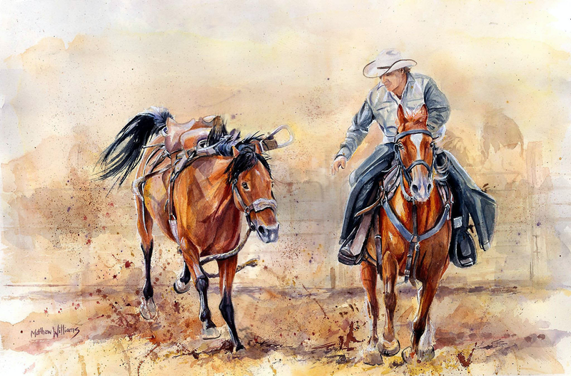 (CreativeWork) The Pickup by Matthew Williams. watercolour. Shop online at Bluethumb.