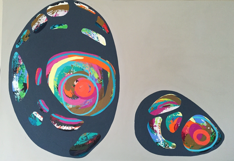 (CreativeWork) Two Found Shells by Jacqi Russo. arcylic-painting. Shop online at Bluethumb.