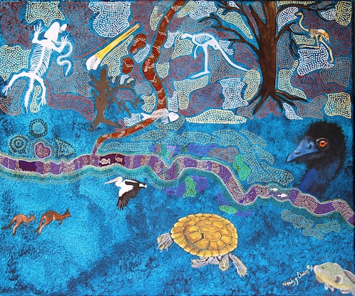 """(CreativeWork) """"Dreaming Lost """"  by Wendy Owen. Acrylic Paint. Shop online at Bluethumb."""