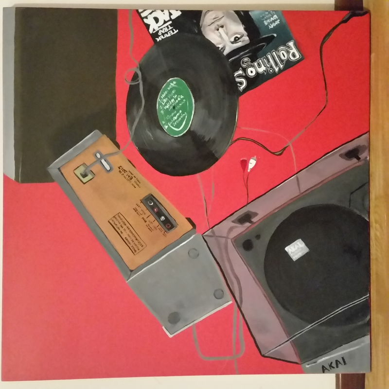 (CreativeWork) Vinyl and The Rolling Stone by Elisha Jane. arcylic-painting. Shop online at Bluethumb.
