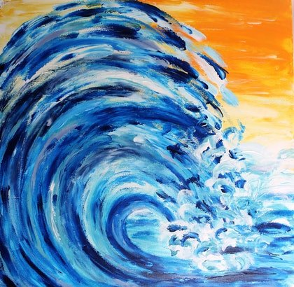 (CreativeWork) Golden Seaside Wave by Amy Bloemendaal. arcylic-painting. Shop online at Bluethumb.