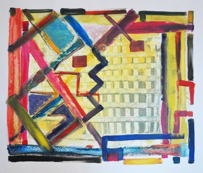 (CreativeWork) Contemporary Melbourne  by Pouya Bagheri. arcylic-painting. Shop online at Bluethumb.