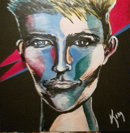 (CreativeWork) David Bowie  by Kim Crijns. arcylic-painting. Shop online at Bluethumb.