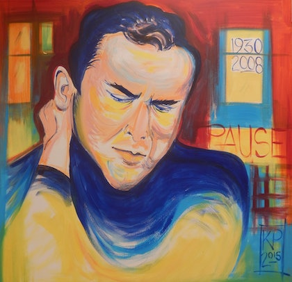 (CreativeWork) Harold Pinter by Kathryn Pentecost. arcylic-painting. Shop online at Bluethumb.