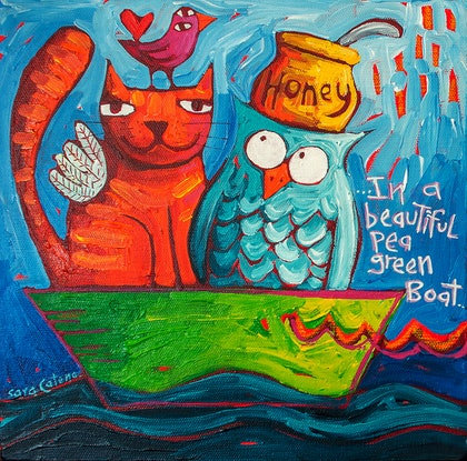 (CreativeWork) In a beautiful pea green boat by Sara Catena. Acrylic Paint. Shop online at Bluethumb.