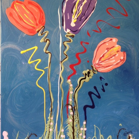 (CreativeWork) Tulips by Kimberley Nean. Acrylic Paint. Shop online at Bluethumb.