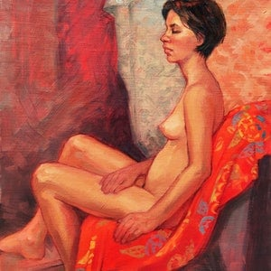 (CreativeWork) Female Nude on Red by Roz McQuillan. oil-painting. Shop online at Bluethumb.