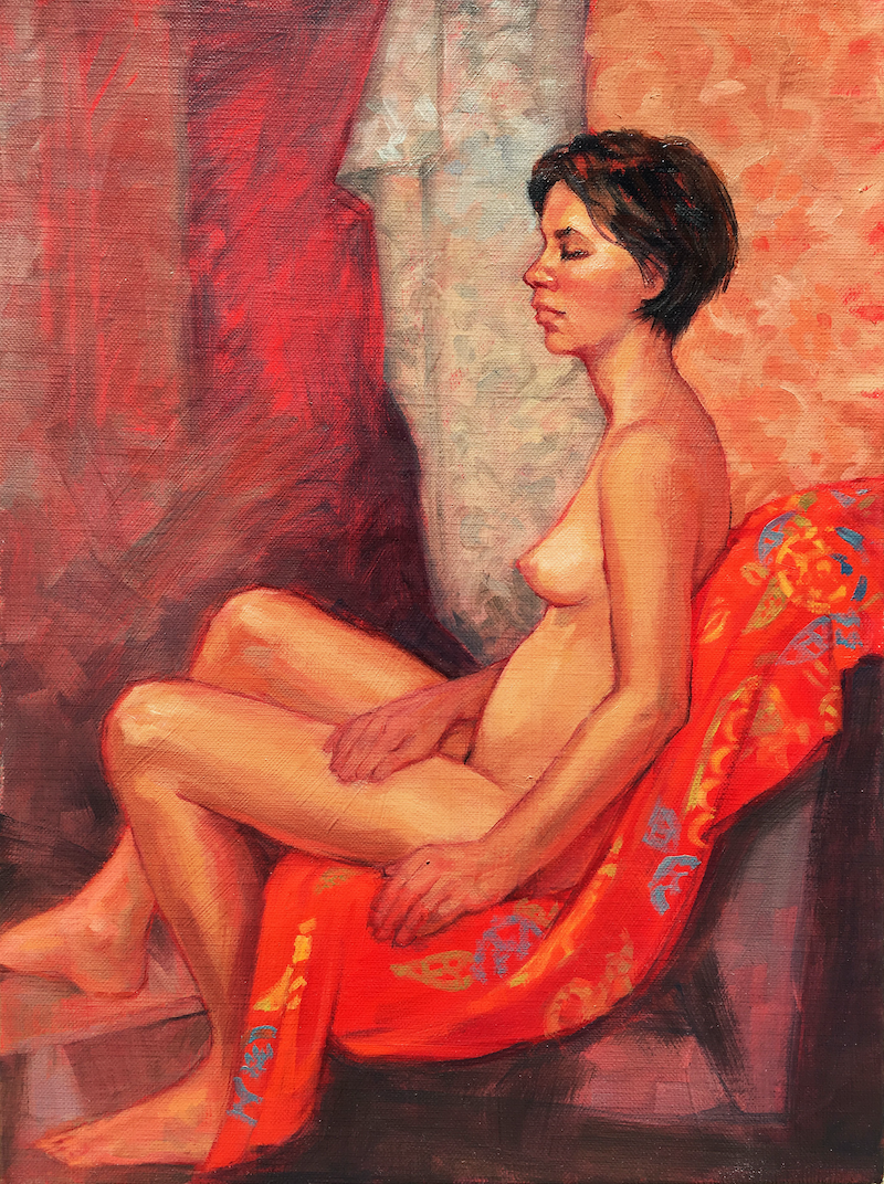(CreativeWork) Female Nude on Red by Roz McQuillan. #<Filter:0x00007fbc89494178>. Shop online at Bluethumb.