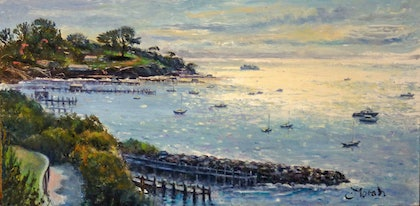 (CreativeWork) Into the Light, Sorrento  by Fred Marsh. oil-painting. Shop online at Bluethumb.