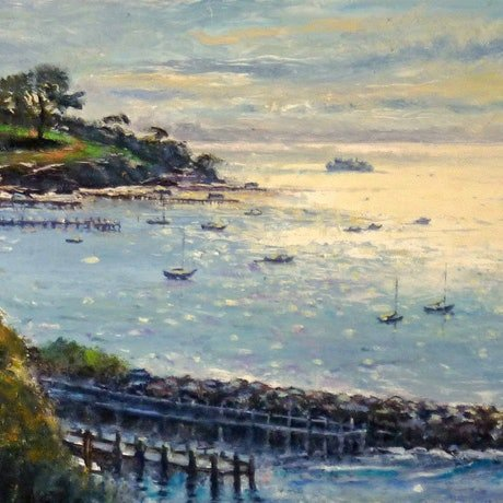 (CreativeWork) Into the Light, Sorrento  by Fred Marsh. Oil Paint. Shop online at Bluethumb.