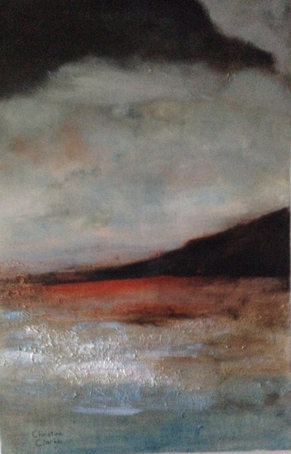 (CreativeWork) Morning Beach in Winter by Chris Clarke. arcylic-painting. Shop online at Bluethumb.