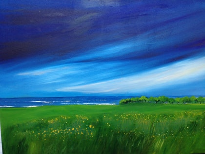 (CreativeWork) View from the Farmstall, Cudgen by Chris Clarke. arcylic-painting. Shop online at Bluethumb.