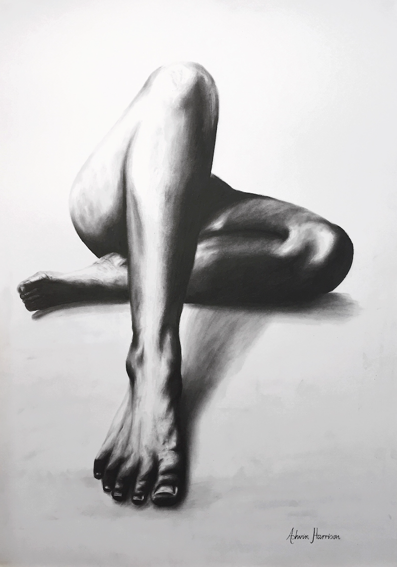 (CreativeWork) NUDE WOMAN CHARCOAL STUDY 23 by Ashvin Harrison. drawing. Shop online at Bluethumb.