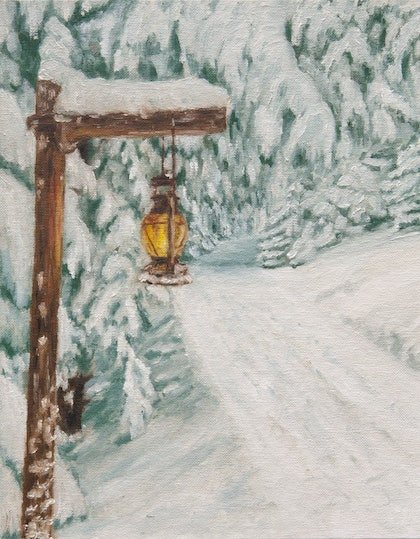 (CreativeWork) Winter in the forest by Alexey Prokopenko. oil-painting. Shop online at Bluethumb.
