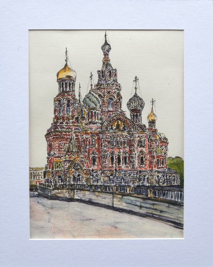 (CreativeWork) Church by Alexey Prokopenko. watercolour. Shop online at Bluethumb.