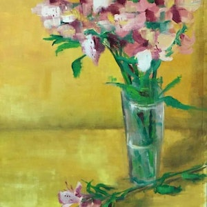 (CreativeWork) Flowers in vase by Jane Kanizay. oil-painting. Shop online at Bluethumb.