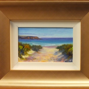 (CreativeWork) Beach at Whalers Way, Port Lincoln, SA by Christopher Vidal. oil-painting. Shop online at Bluethumb.