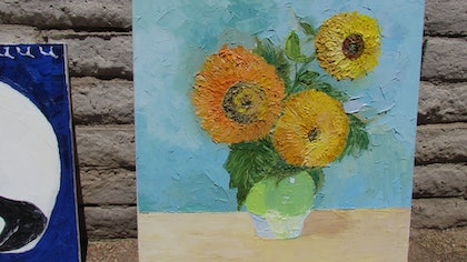 (CreativeWork) Sunflowers by Yevgeniya Osypenko. oil-painting. Shop online at Bluethumb.