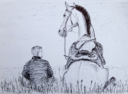 (CreativeWork) Horse1 by Alexey Prokopenko. drawing. Shop online at Bluethumb.