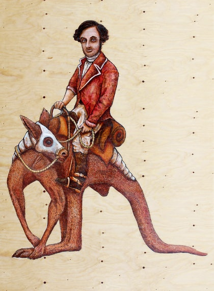 (CreativeWork)  Riding to Mt Hopeless 1840 (Edward John Eyre Journals of Discovery) by Leith O'Malley. oil-painting. Shop online at Bluethumb.