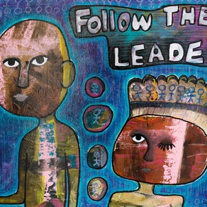 (CreativeWork) Follow the Leader by Leonie Leivenzon. mixed-media. Shop online at Bluethumb.