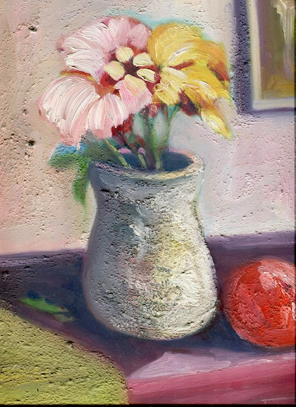 (CreativeWork) A small Vase of Flowers by Andrew Brown. oil-painting. Shop online at Bluethumb.