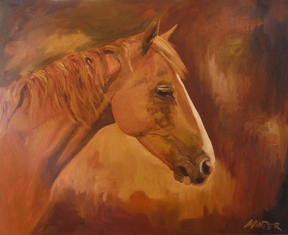(CreativeWork) Horse 2 by Chris and Nikki Winter. arcylic-painting. Shop online at Bluethumb.