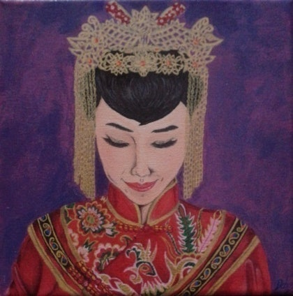 (CreativeWork) Lucky Bride by Deborah Hobbs. arcylic-painting. Shop online at Bluethumb.