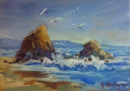 (CreativeWork) Rocky Beach Seascape  by Glen Mackay. oil-painting. Shop online at Bluethumb.