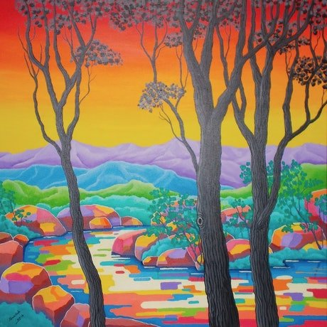 (CreativeWork) CREEKSCAPE 3 by Saadah Kent. Acrylic Paint. Shop online at Bluethumb.