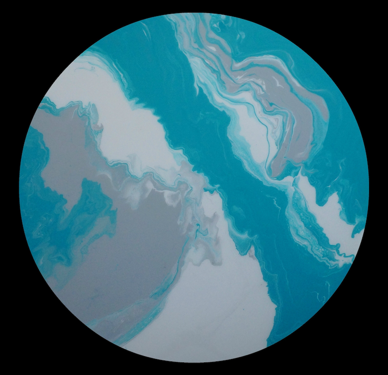 "(CreativeWork) MODERN ABSTRACT ORIGINAL ROUND CIRCLE RESIN PAINTING ""FOLLOW"" TURQUOISE, GREY, WHITE by Debra Ryan. mixed-media. Shop online at Bluethumb."
