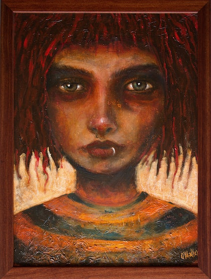 (CreativeWork) Gazing Girl by Leith O'Malley. oil-painting. Shop online at Bluethumb.