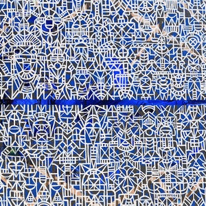 "(CreativeWork) ""The thin blue line"" by David Spencer. acrylic-painting. Shop online at Bluethumb."
