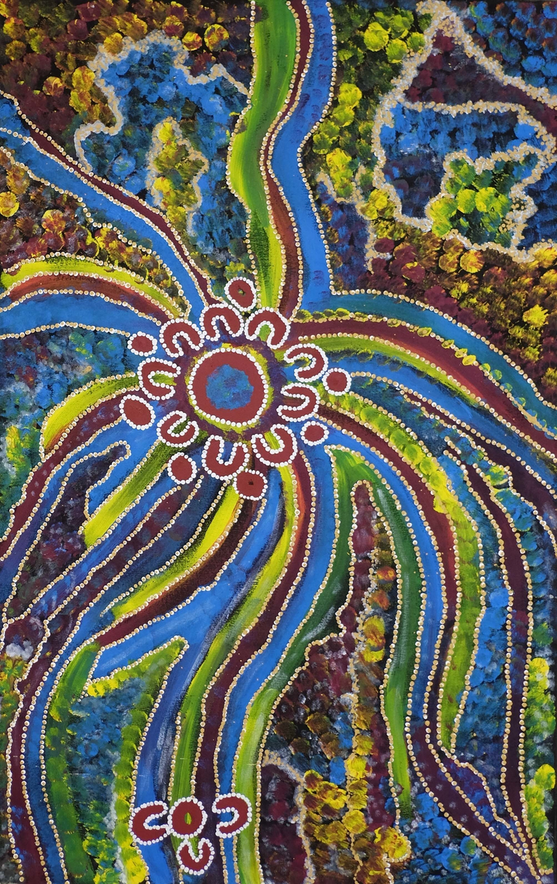 (CreativeWork) The Ngaturn Rock Hole by Ethel (Narelle) Holland. arcylic-painting. Shop online at Bluethumb.