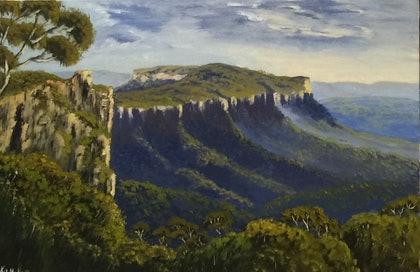 (CreativeWork) Morning Mist Over Looking Narrow Neck/Blue Mountains Landscape by Kit McNeill. oil-painting. Shop online at Bluethumb.