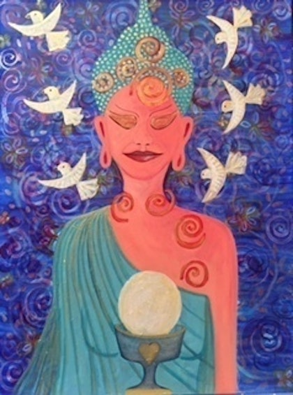 "(CreativeWork) ""Goddess of Abundance"" by Alessandra Del Basso. arcylic-painting. Shop online at Bluethumb."