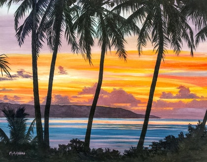(CreativeWork) Sunset over North West Point, Christmas Island by M.A. Hobbs. oil-painting. Shop online at Bluethumb.