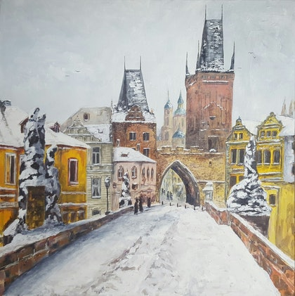 (CreativeWork) View on Old Prague from Charles Bridge by Jan Sikora. oil-painting. Shop online at Bluethumb.